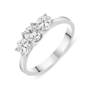 00160292 W Hamond Platinum 1.00ct Diamond Brilliant Cut Trilogy Ring. R1137.