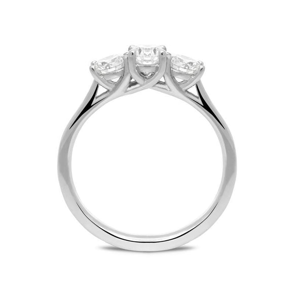 00160292 W Hamond 18ct White Gold 1.00ct Diamond Brilliant Cut Trilogy Ring. R1137.