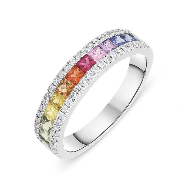 18ct White Gold 1.03ct Rainbow Sapphire Diamond Ring