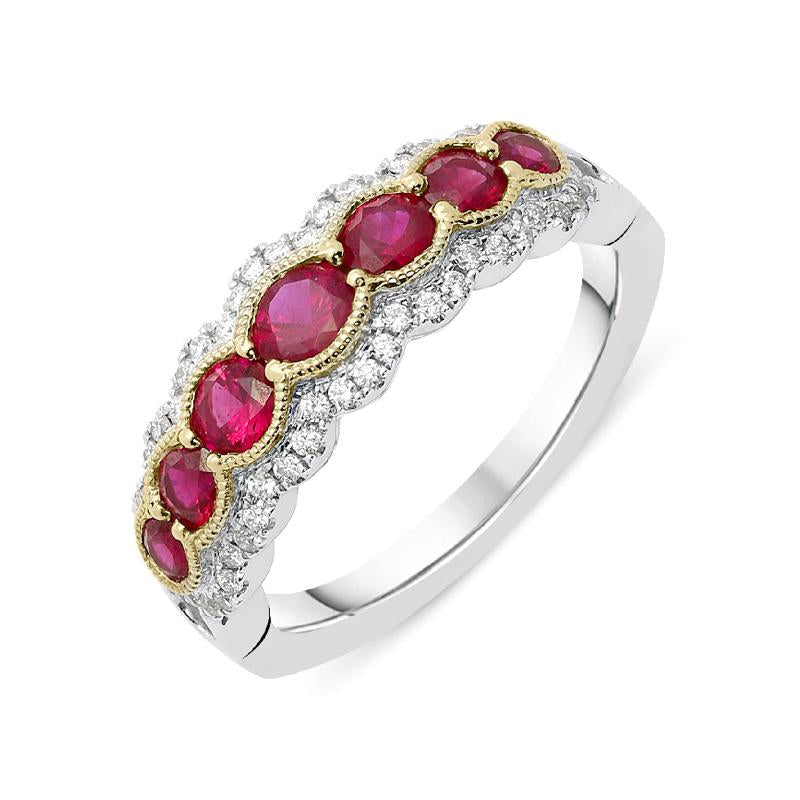 18ct White Gold 1.03ct Ruby Diamond Half Eternity Ring