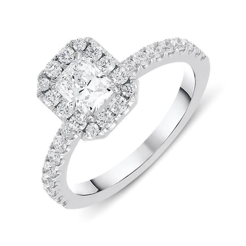 18ct White Gold 1.05ct Diamond Halo Ring