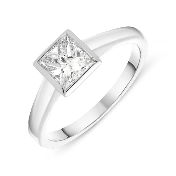 00001994 W Hamond 18ct White Gold 1.12ct Diamond Princess Cut Solitaire Ring, SRS-001.