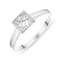 18ct White Gold 1.12ct Diamond Princess Cut Solitaire Ring