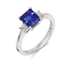 18ct White Gold 1.16ct Tanzanite 0.23ct Diamond Princess Cut Ring