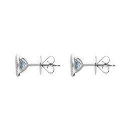 00176836 W Hamond 18ct White Gold 1.20ct Aquamarine 0.12ct Diamond Halo Stud Earrings FEU1984