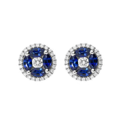 18ct White Gold 1.27ct Sapphire Diamond Marquise Cut Cluster Earrings