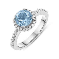 18ct White Gold 1.32ct Aquamarine Diamond Halo Ring