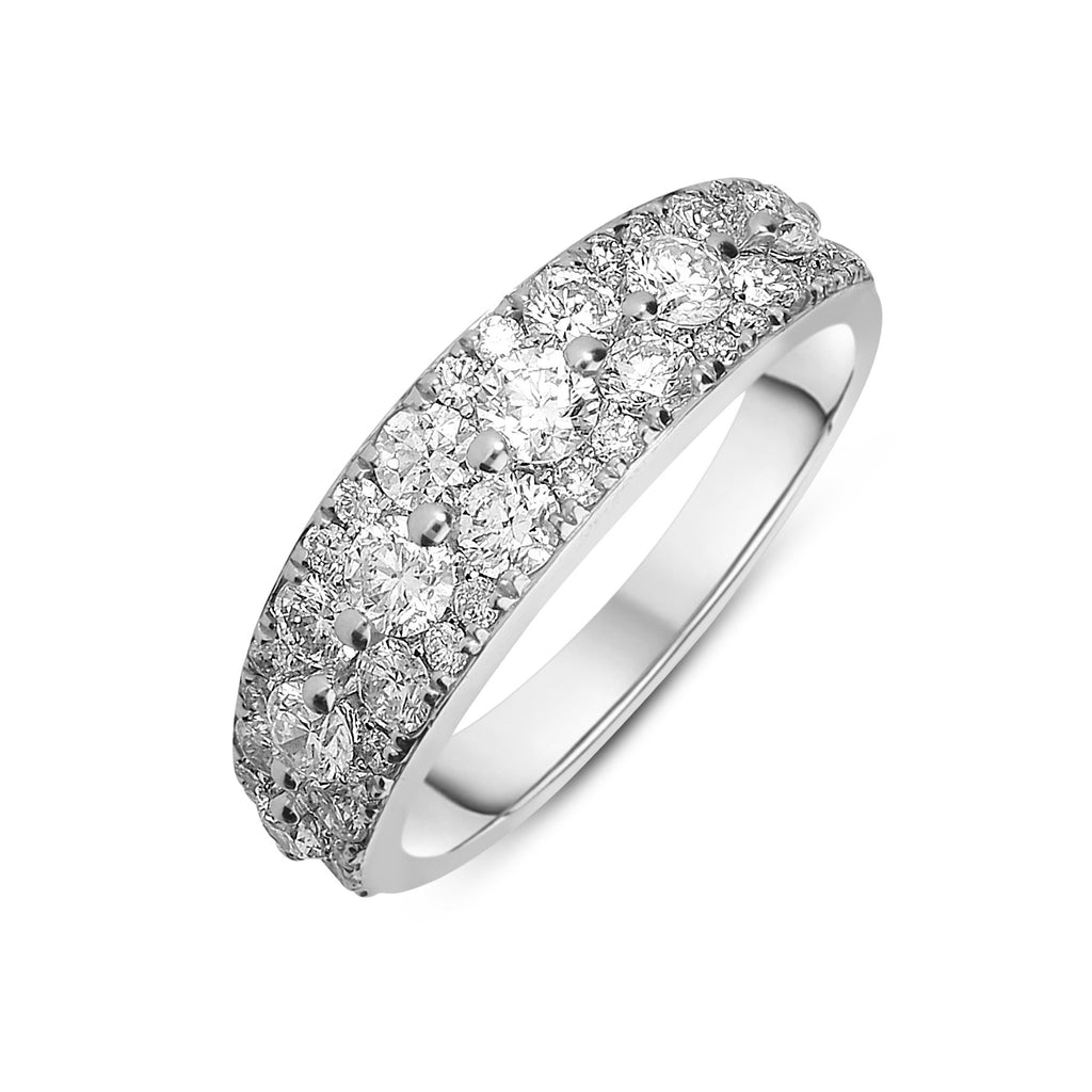 18ct White Gold 1.40ct Diamond Cluster Eternity Ring