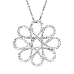 18ct White Gold 1.43ct Diamond Interlocking Floral Necklace