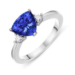 18ct White Gold 1.43ct Tanzanite 0.11ct Diamond Trillion Cut Ring