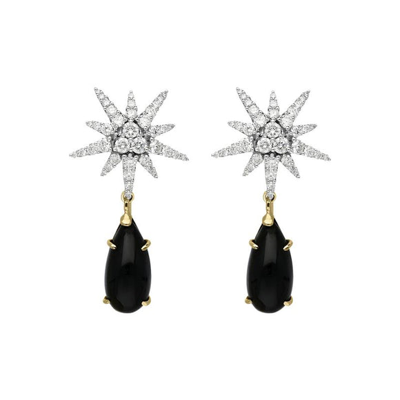 00077684 W Hamond 18ct White Gold 1.63ct Diamond Whitby Jet Star Drop Earrings, PCH-077.