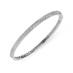 18ct White Gold 1.87ct Diamond Hinged Bangle