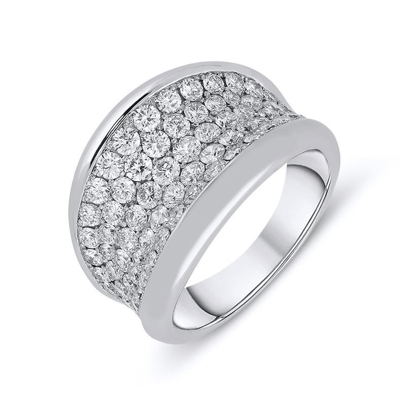 18ct White Gold 2.09ct Diamond Concave Dress Ring