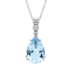 18ct White Gold 2.81ct Aquamarine Diamond Pear Cut Necklace