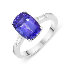 18ct White Gold 3.72ct Cushion Cut Tanzanite Diamond Ring