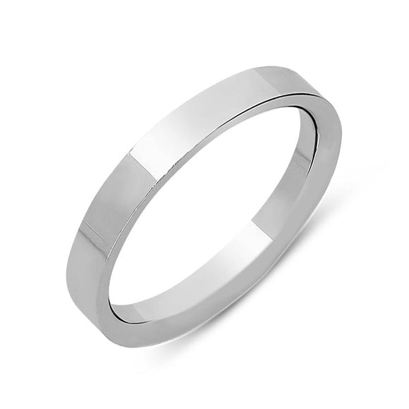 18ct White Gold 3mm Flat Court Shape Wedding Ring. CGN-056.