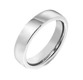 00000114 W Hamond 18ct White Gold 4mm Flat Court Shape Wedding Ring. CGN-057.