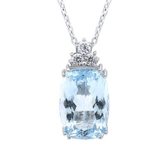 18ct White Gold 5.02ct Aquamarine Diamond Necklace