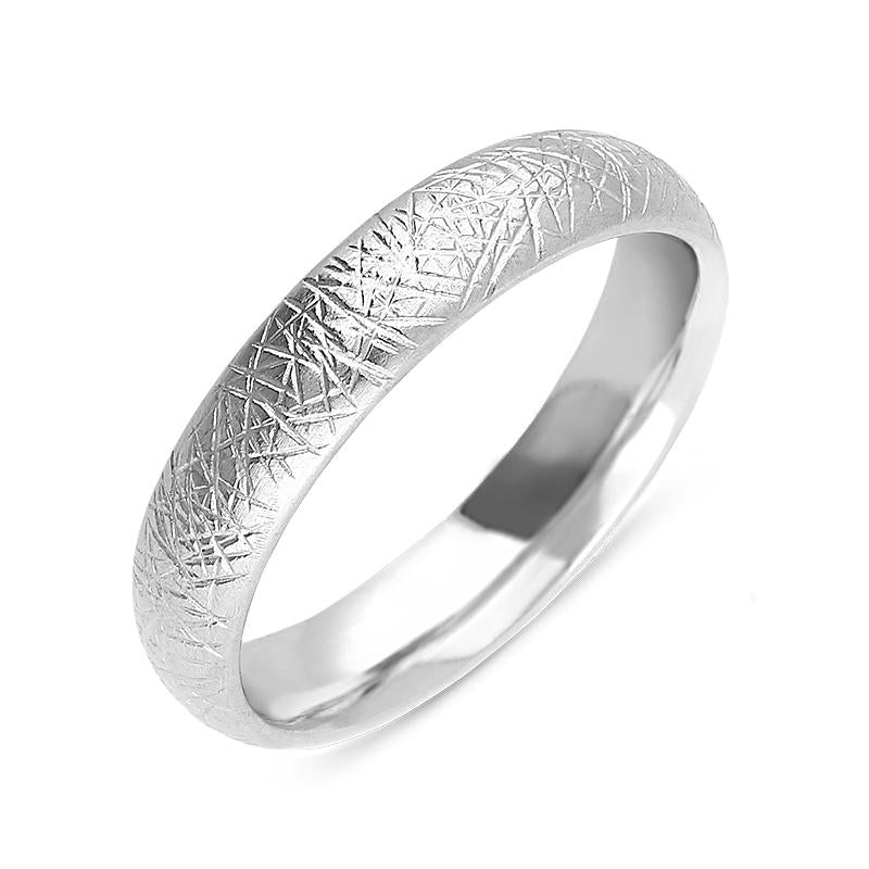18ct White Gold 5mm Patterned Wedding Ring