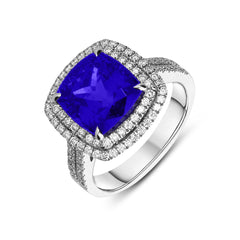18ct White Gold 6.84ct Tanzanite and Diamond Dress Ring