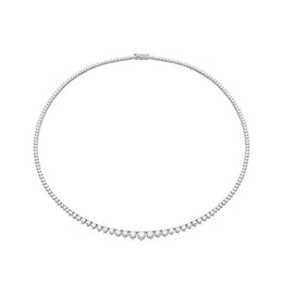 18ct White Gold 7.09ct Diamond Graduated Necklace, FEU-041.