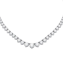 18ct White Gold 7.09ct Diamond Graduated Necklace