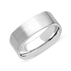 18ct White Gold 7mm Satin Finish Wedding Ring