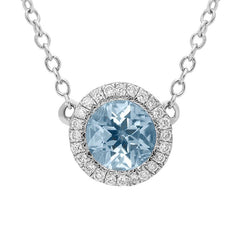 18ct White Gold Aquamarine Diamond Halo Necklace