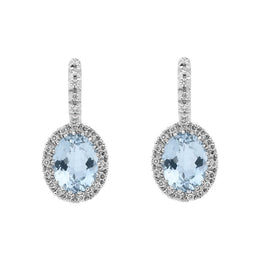 18ct White Gold Aquamarine Diamond Oval Cut Drop Earrings, 0N0905.