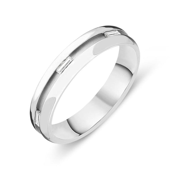 18ct White Gold Diamond Baguette Cut Channelled Wedding Ring, FJT-087.