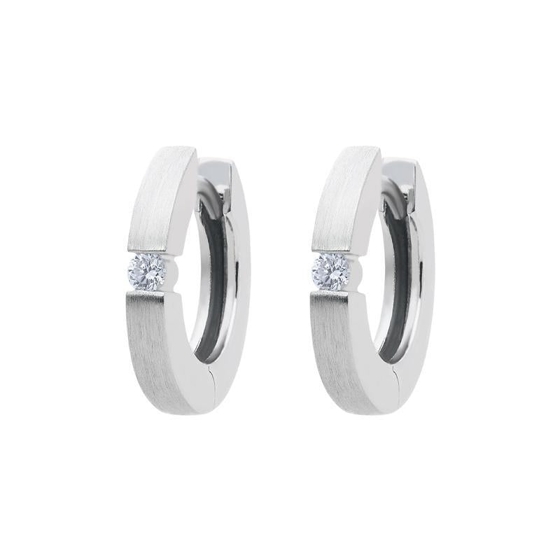 18ct White Gold Diamond Brilliant Cut Satin Hoop Earrings
