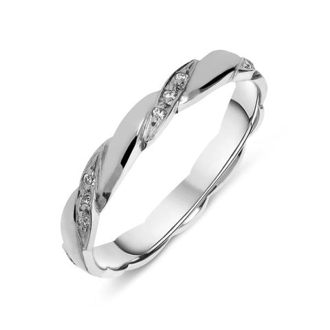 18ct White Gold Diamond Twisted Wedding Ring