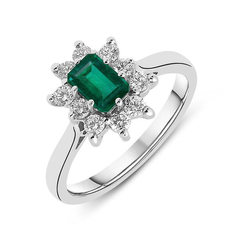 18ct White Gold Emerald Diamond Baguette Cut Cluster Ring