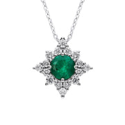 18ct White Gold Emerald Diamond Star Necklace, FEU-1620.