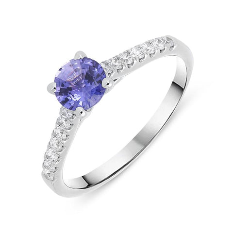 18ct White Gold Purple Sapphire Diamond Round Cut Ring