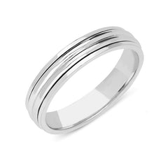 18ct White Gold Ridged Wedding Ring