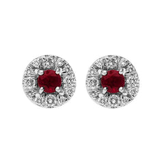 18ct White Gold Ruby 0.30ct Diamond Round Cluster Stud Earrings