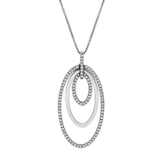 18ct White Gold Three Ellipse 0.59 Carat Diamond Pendant Necklace