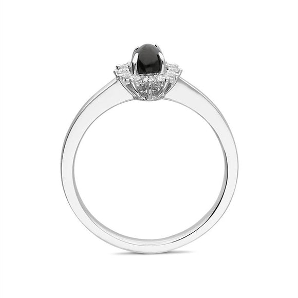 00176154 W Hamond 18ct White Gold Whitby Jet 0.14ct Diamond Oval Flower Ring R1190