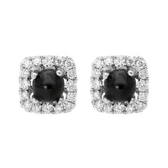 18ct White Gold Whitby Jet 0.21ct Diamond Square Stud Earrings