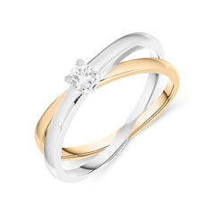18ct White and Rose Gold 0.13ct Diamond Ring