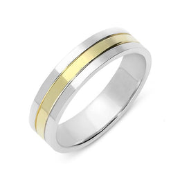 18ct White and Yellow Gold Wedding Ring, CGN-340.