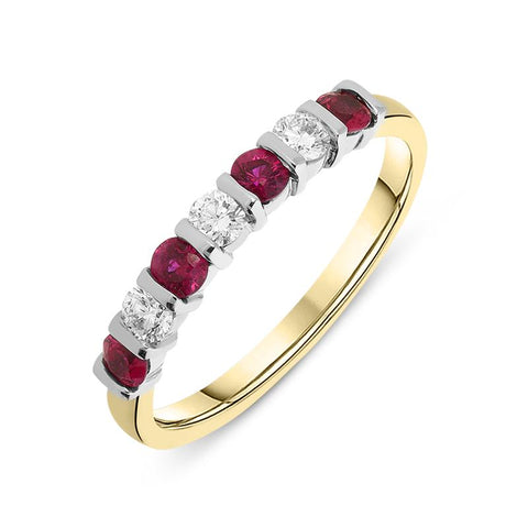 18ct Yellow Gold 0.40ct Ruby and Diamond Seven Stone Bar Set Eternity Ring