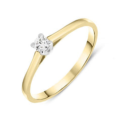 18ct Yellow Gold 0.11ct Brilliant Cut Diamond Solitaire Ring