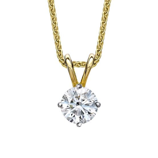 18ct Yellow Gold 0.15 Carat Diamond Solitaire Necklace