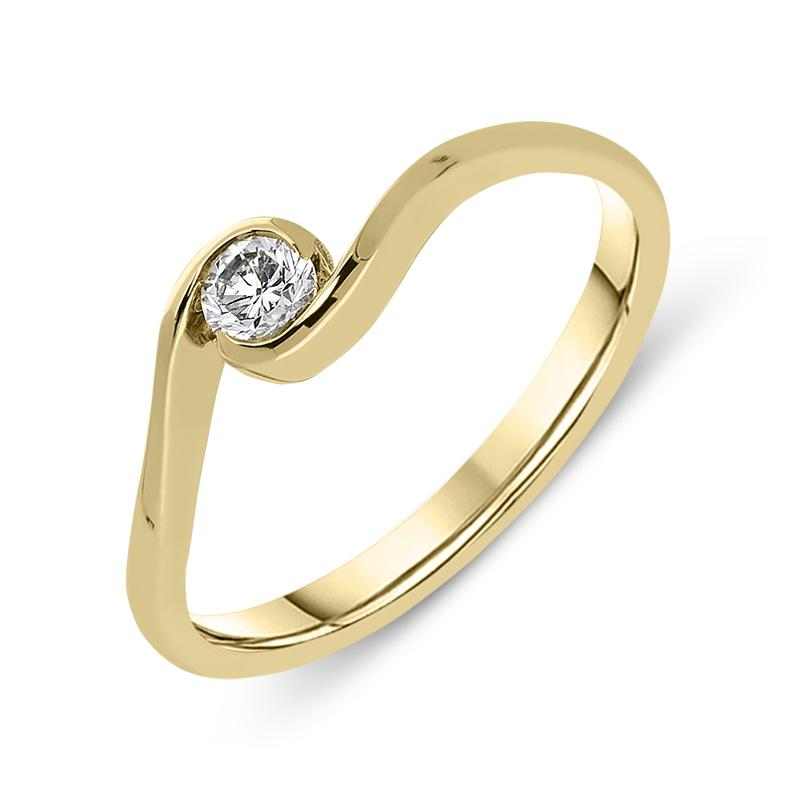 18ct Yellow Gold 0.20ct Diamond Cross Over Ring