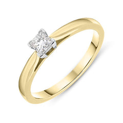 18ct Yellow Gold 0.24ct Diamond Princess Cut Solitaire Ring