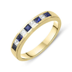 18ct Yellow Gold 0.29ct Sapphire Diamond Half Eternity Ring