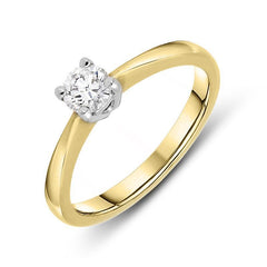 18ct Yellow Gold 0.30ct Diamond Brilliant Cut Solitaire Ring