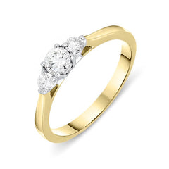 18ct Yellow Gold 0.36ct Diamond Brilliant Cut Trilogy Ring